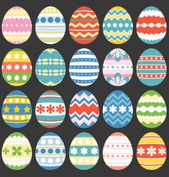 colourful easter eggs flat design set 3 vector image
