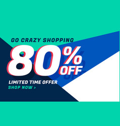 Crazy shopping sale banner design with offer vector