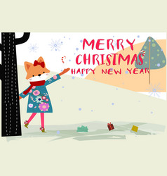 cute merry christmas girl and animal cartoon card vector image