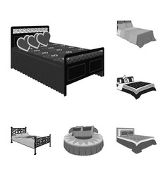 different beds monochrome icons in set collection vector image