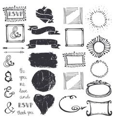 Doodle decor element ampersandcatchword set vector
