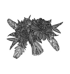 ethnic bouquet with peony flowers and feathers vector image