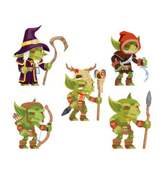 Evil goblins pack dungeon dark wood tribe monster vector