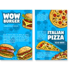 Fast food restaurant burger sketch poster vector