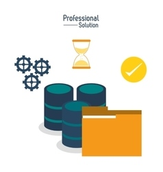 Files and data center icon Proffesional Solution vector
