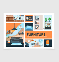 Flat home interior infographic template vector