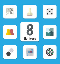 flat icon entertainment set of jigsaw sea fight vector image