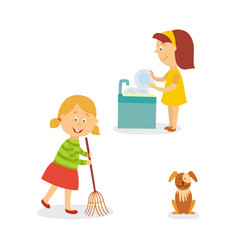 Flat kids doing household chores set vector