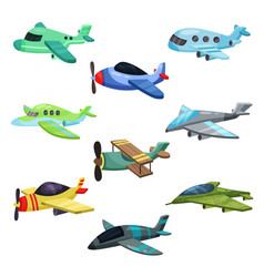 Flat set of different aircrafts military vector