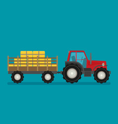 flat tractor with semi-trailer icon isolated vector image
