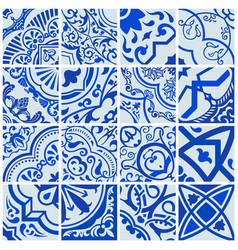 Floral seamless mosaic tile ceramic vector