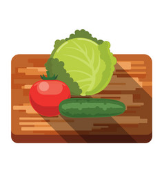 fresh cabbage tomato cucumber on a cutting board vector image