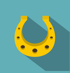 Golden horseshoe icon flat style vector