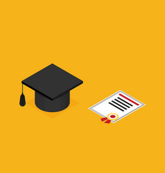 graduation cap diploma school accessories vector image