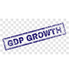 Grunge gdp growth rectangle stamp vector