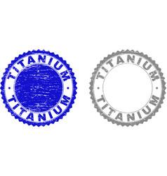 Grunge titanium textured stamps vector