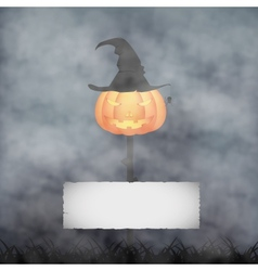 Halloween pumpkin in fog vector image