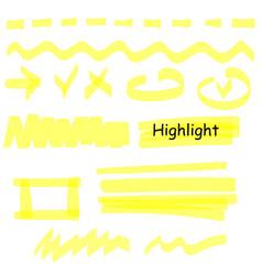 Hand drawn highlight marker lines set highlighter vector