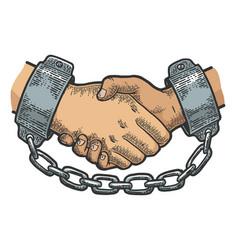 handshake in shackles sketch engraving vector image