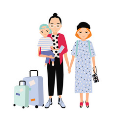 happy family on trip mother father and bason vector image