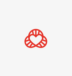 heart dna logotype lined love science vector image