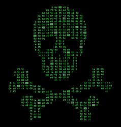 Hi tech crossbones death skull danger sign from vector
