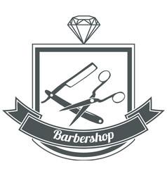 hipster man barbershop logo vector image