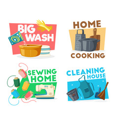 Housework cleaning sewing and cooking icons vector
