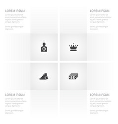 Icon success set of wealthy crown stair and vector