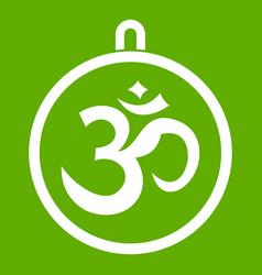 Indian coin icon green vector