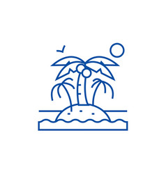 island with palms line icon concept island with vector image