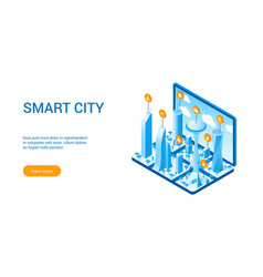 isometric smart cityscape vector image