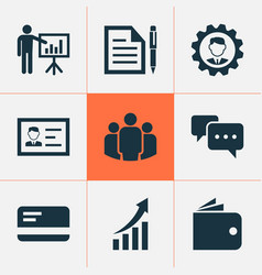job icons set with authentication wallet vector image