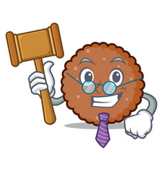 Judge chocolate biscuit mascot cartoon vector