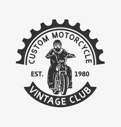 Logo design custom motorcycle vintage club est vector