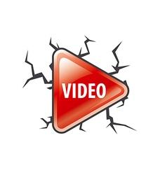logo red button play vector image
