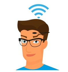 Man using head-mounted hardware technologies vector