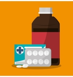 Medicine jar and medical care design vector