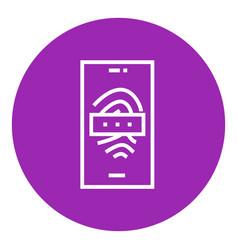 Mobile phone scanning fingerprint line icon vector