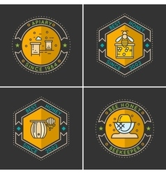 Modern linear emblem for beekeepers vector image