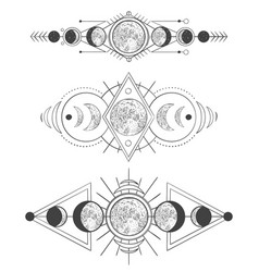 moons phases in mystic sky mother moon hand vector image