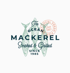 ocean mackerel smoked and grilled abstract vector image