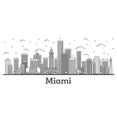 Outline miami florida city skyline with modern vector