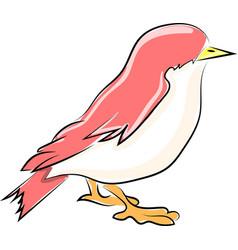 pink little bird on white background vector image