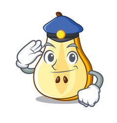 police character cartoon fresh green pear whole vector image