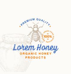 premium quality organic honey product sign vector image