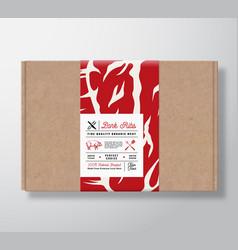 Premium quality pork ribs craft cardboard box vector