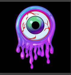 Purple slime frame and eye icon with halloween vector