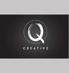 q brush letter logo design artistic handwritten vector image