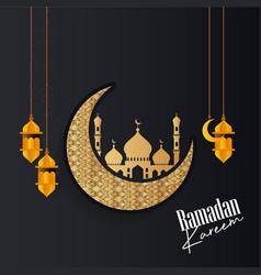 Ramadan kareem islamic greeting card w vector